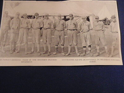 Photo Of Famous Baseball Team Of Western Ontario Regiment. Ww 1