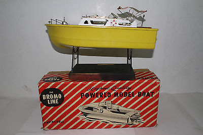 1950's Bromo Line Battery Operated Boat with  Original Box