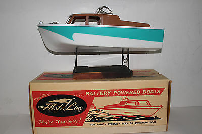 1960's Fleetline Cavalier Battery Operated Boat with  Original Box