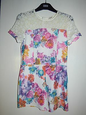 Girls RIVER ISLAND Cream Floral Playsuit Age 11-12 Years