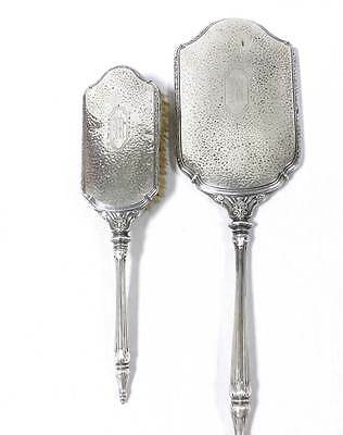 Sterling Silver Brush and Mirror Vanity Set Hammered Silver