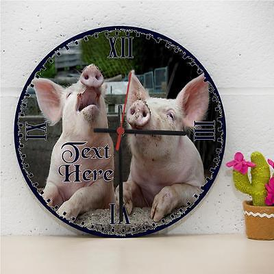 Personalised Cute Pigs Couple Hanging Wall Bedroom Clock Gift RC236