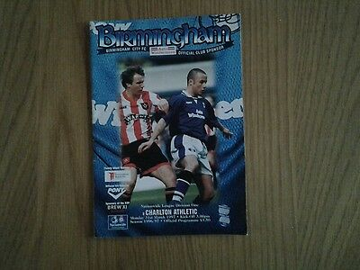 Birmingham City v Charlton Athletic  PROGRAMME 1997