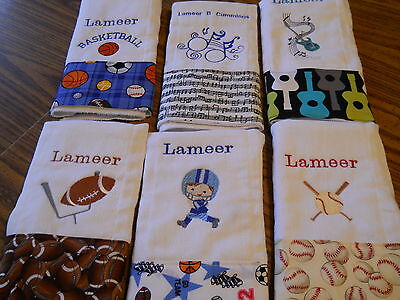 Personalized Embroidered Baby Burp Cloth-Set of 5- any design