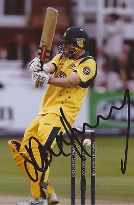AUSTRALIA: DAVE HUSSEY SIGNED 6x4 ODI ACTION PHOTO+COA