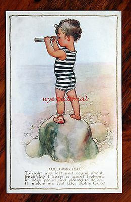 Susan B. Pearse A/s Postcard By The Seaside Series Little Boy The Look Out