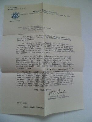 1932 Letter From American Consulate Foochow, China To Missionary Kutien, Unsafe