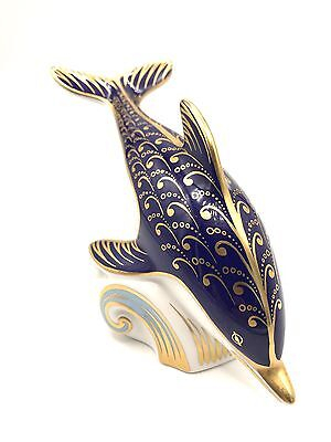 """Royal Crown Derby Dolphin Porcelain Paperweight 7"""" in length"""