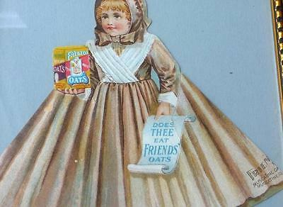 "Antique Paper Sign, ""Friends Oats,"" Victorian Girl, Muscatine, Iowa, Wood Frame"