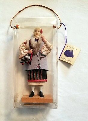 "Romanian doll - vintage - 8"" - wooden stand - Original plastic box"