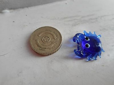 Crab -  Glass - Tiny ,beautiful Detailed Deep Blue Coloured Miniature Glass Crab