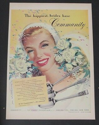Original Print Ad 1946 Community Silverplate This Is For Keeps Jon Whitcomb Advertising-print 1940-49