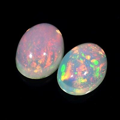 Pair 2pcs/2.09ct t.w 8x6mm Oval Cab Natural Play-of-Color Crystal Welo Opal