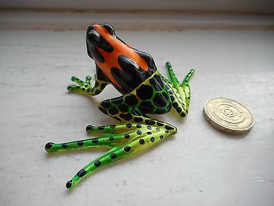 Frog -Long Legged - Colourful - Green/orange/black Miniature Glass Tropical Frog