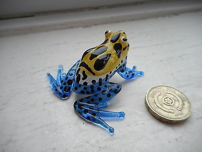 Frog - Miniature Colourful- Ellow/blue/black/white Miniature Glass Tropical Frog