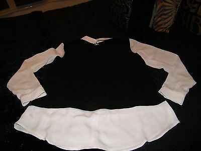 Ladies Black and White Tunic and Blouse Top From Primark Size 14