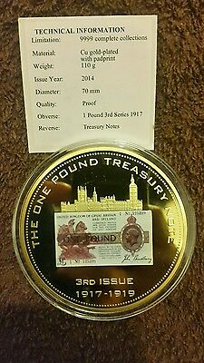 1 Pound 3rd Series 1917 Gold Plated with Padprint 70MM Coin
