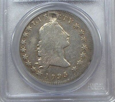 PCGS Genuine 1795 Flowing Hair B-1 BB-21 2 Leaves FINE Details Silver Dollar