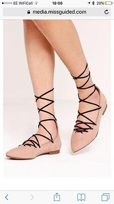 Missguided Sweetheart Vamp Black Lace Up Ballerina Nude Pumps Shoes BNWOT 5