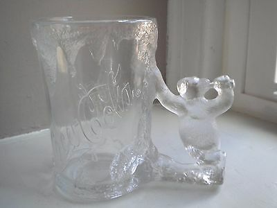 """Coca-Cola 1997 """"Frosted"""" Clear Glass Mug  with Polar Bear Handle"""