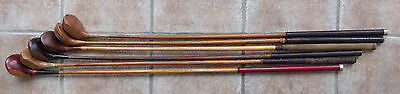 6 Antique Vintage Old 1920s Hickory Wood Shaft Golf Clubs Driver Brassie Spoon