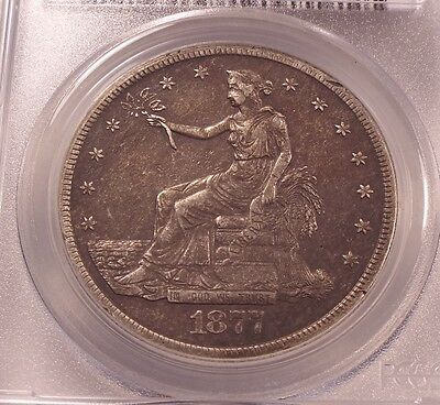 PCGS Genuine 1877-S Silver Trade Dollar XF Details