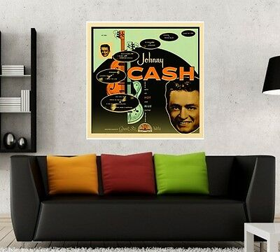 Johnny Cash with his Hot and Blue Guitar 24x24 Album Artwork Fathead Poster