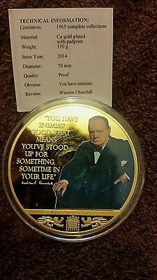 You Have Enemies Winston Churchill Gold Plated with Padprint Coin 70MM