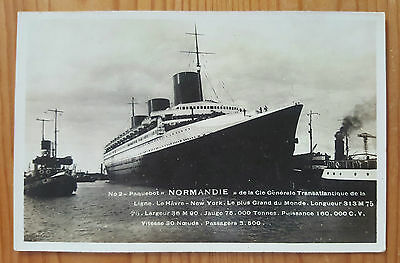Vintage Photo Postcard Ss Normandie Ocean Liner French Line Port Passengers Tugs