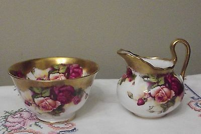 """Royal Chelsea Open Sugar Bowl and Creamer """"Golden Rose"""" Excellent condition"""