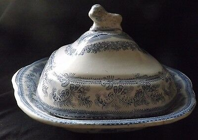 Large Antique Blue & White Vegetable Tureen  Af