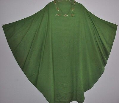 Vintage Green Church Chasuble Vestment Kasel Cross Sisters Of St. Francis