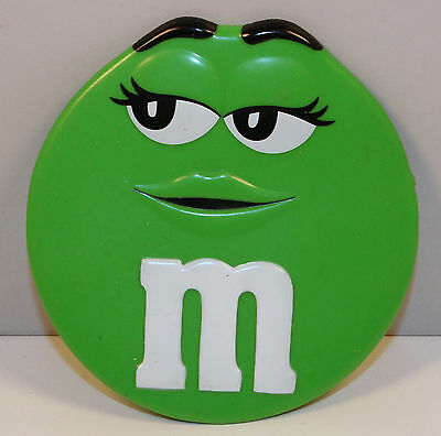 """3.25"""" Green M&M's Round Rubber Plastic 10 Suction Cup Window Cling Figure"""