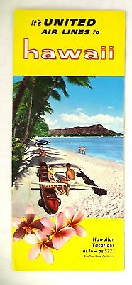 1955 United Air Lines Hawaii Brochure Only 8 ½ Hours! Clean and Nice Airlines