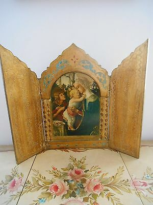 Italian Florentine Religious Triptych Giltwood Picture Virgin Mary Infant Christ