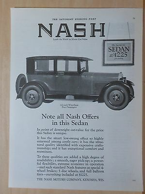 1925 magazine ad for Nash - Special Six 5-passenger Sedan, Note All Nash Offers