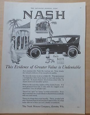 1924 magazine ad for Nash - Six Touring Car, Evidence of Great Value Undeniable