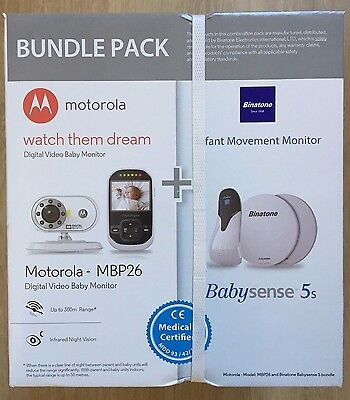 Motorola MBP26 Digital Audio and Video Monitor + Baby Sense Sensor New, Sealed
