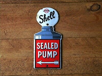 "SHELL SEALED PUMP PORCELAIN SIGN ~5-7/8"" x 2-5/8"" GAS STATION OIL ADVERTISING"