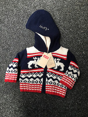 Levi Baby Boys Hooded Knitted Zip Jumper Sweater Brand New with Tags 3 Months