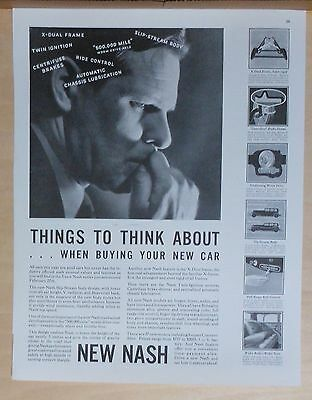 1929 magazine ad for Nash - Things to Think About when Buying New Car, features