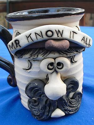 "MR KNOW IT ALL POTTERY FACE MUG~Signed~4.5"" Tall"