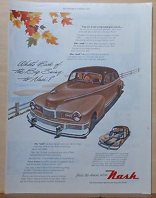 1947 magazine ad for Nash - What's Back of Big Swing To Nash, brown car