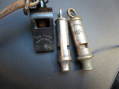 3 old British Military WHISTLES OR POLICE