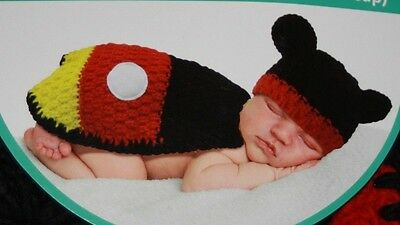 NWT Disney Baby Mickey Mouse 2 Piece Photo Prop Crocheted Cap Cape 0-3 Months
