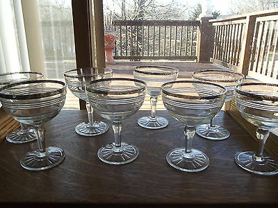 (5) Water wine Goblets Glasses, Banded Rings Hocking Platinum Silver rim Clear