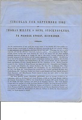 Brokers Circular - 1865 - Great Information About Railway Co Investments