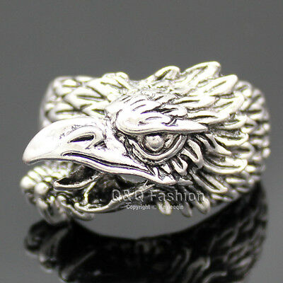 Western Silver Etch Bald Eagle Head Bird of Prey Zuni Band Finger Ring # V 11