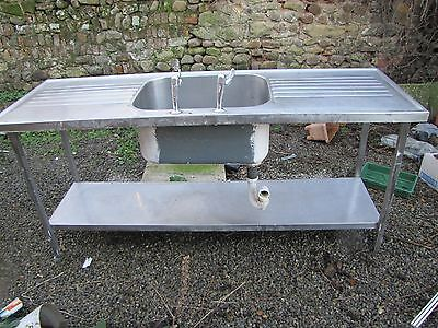 Commercial Catering Stainless Single Sink,Double Drainer Deep Bowl Shelf Under
