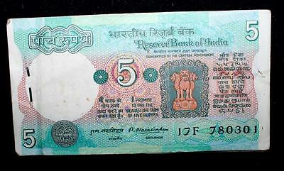 India Republic 5 Rupees Signed By Narashimham A Packet Of 100 Notes In Serial Rr